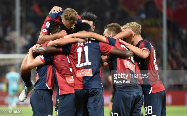 Krzysztof Piatek of Genoa celebrates with teammates after scoring to make it 10 during the serie A match between Genoa CFC and Chievo Verona at...