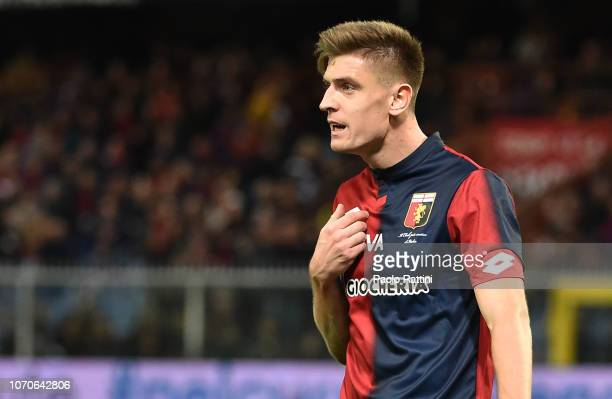 Krzysztof Piatek of Genoa during the Serie A match between Genoa CFC and SPAL at Stadio Luigi Ferraris on December 9 2018 in Genoa Italy