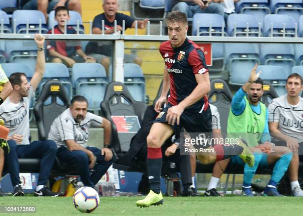 Krzysztof Piatek of Genoa in action during the serie A match between Genoa CFC and Bologna FC at Stadio Luigi Ferraris on September 16 2018 in Genoa...