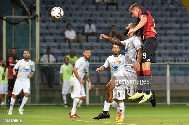 Krzysztof Piatek of Genoa score 3-0 during the Coppa Italia match between Genoa CFC and Lecce at Stadio Luigi Ferraris on August 11, 2018 in Genoa,...