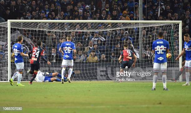 Krzysztof Piatek of Genoa scores a penalty during the Serie A match between Genoa CFC and UC Sampdoria at Stadio Luigi Ferraris on November 25 2018...