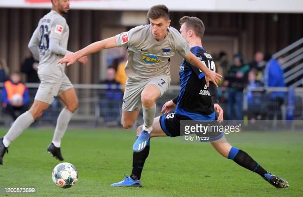 Krzysztof Piatek of Hertha BSC and Sebastian Schonlau of SC Paderborn during the game between the SC Paderborn 07 against Hertha BSC on february 15...
