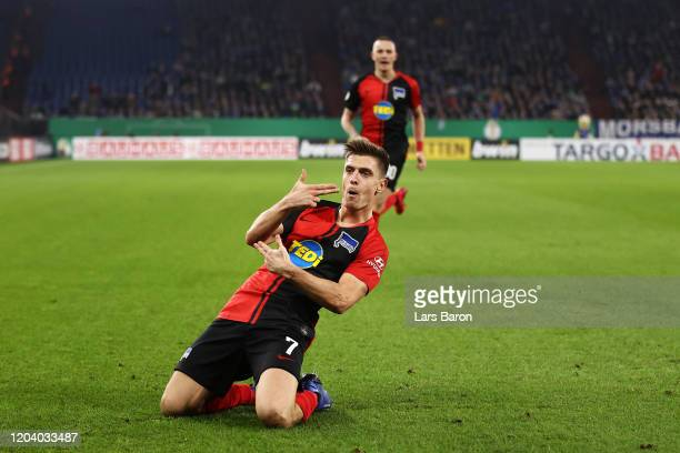 Krzysztof Piatek of Hertha BSC celebrates after scoring his team's second goal during the DFB Cup round of sixteen match between FC Schalke 04 and...