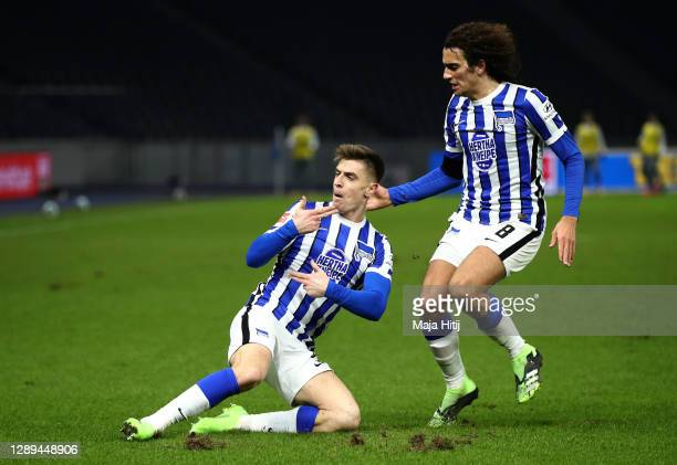 Krzysztof Piatek of Hertha celebrates his team's second goal with teammate Matteo Guendouzi during the Bundesliga match between Hertha BSC and 1. FC...