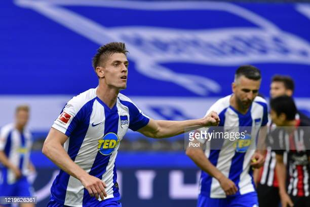 Krzysztof Piatek of Hertha celebrates scoring his sides first goal during the Bundesliga match between Hertha BSC and Eintracht Frankfurt at...