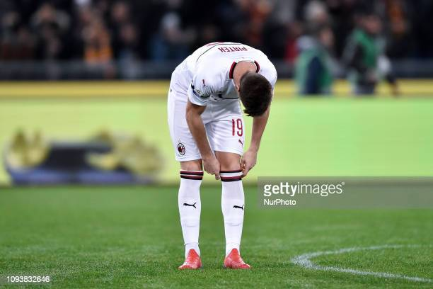Krzysztof Piatek of Milan looks dejected during the Serie A match between Roma and AC Milan at Stadio Olimpico Rome Italy on 3 February 2019