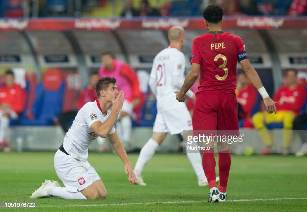 Krzysztof Piatek Pepe during the UEFA Nations league match between Poland v Portugal at the Slaski Stadium on October 11 2018 in Chorzow