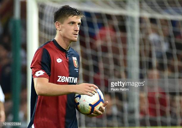 Krzysztof Piatek with the Ball of the Match at the and of Coppa Italia match between Genoa CFC and Lecce at Stadio Luigi Ferraris on August 11 2018...