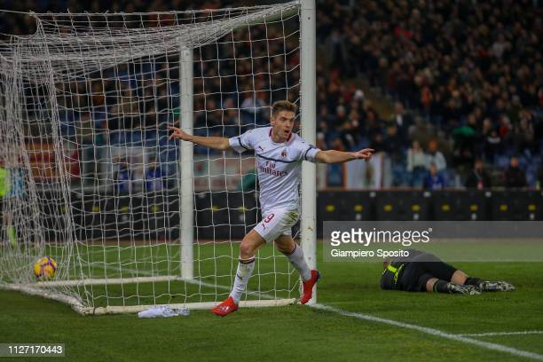 Krzysztof Piątek of AC Milan celebrates after scoring his goal against AS Roma during the Serie A match between AS Roma and AC Milan at Stadio...