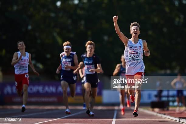Krzysztof Roznicki of Poland celebrates in the Men's 800m Final during European Athletics U20 Championships Day 4 at Kadriorg Stadium on July 18,...