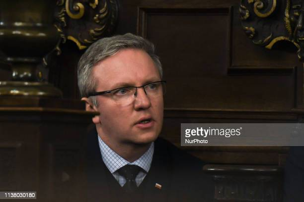 Krzysztof Szczerski the head of the Polish President's Office during the celebrations of the Holy Thursday mass in Wawel Royal Cathedral in Krakow...