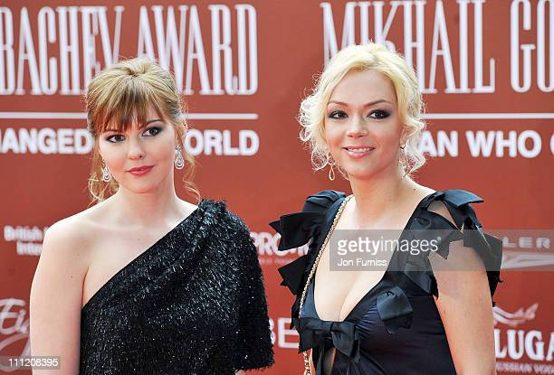 Ksenia Gorbachev and Anastasia Virganskaya arrive at the Gorby 80 - Gala Concert at Royal Albert Hall on March 30, 2011 in London, England.