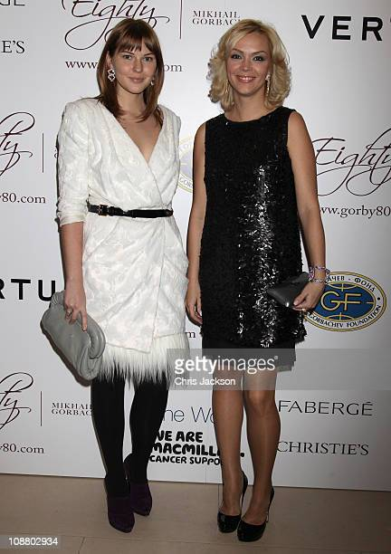 Ksenia Gorbacheva and Anastasia Virganskaya arrive at the Mikhail Gorbachev 80th Birthday Cocktail Party at Christies on February 3, 2011 in London,...