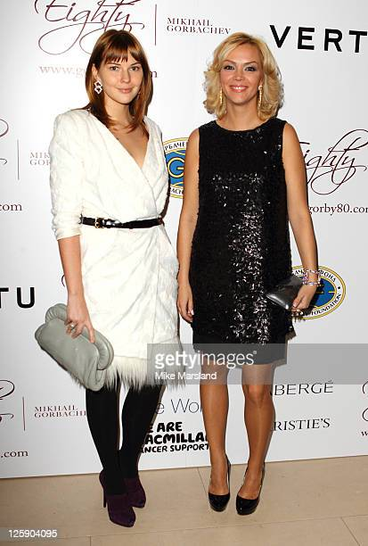 Ksenia Gorbacheva and Anastasia Virganskaya attend a cocktail party to celebrate Mikhail Gorbachev's 80th Birthday at Christie's South Kensington on...