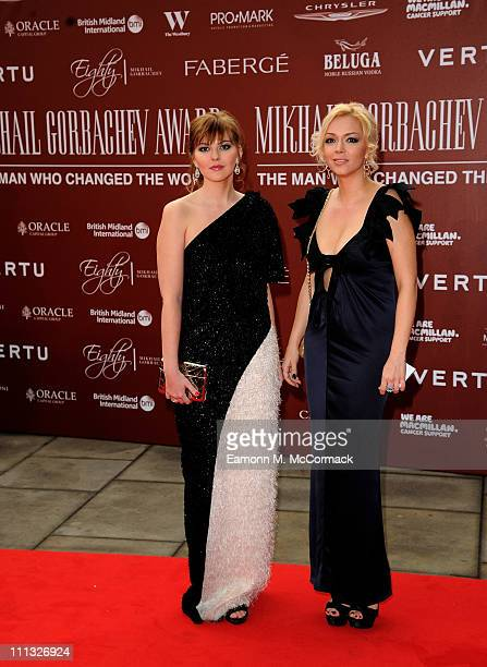 Ksenia Gorbacheva and Anastasia Virganskaya attend the Gorby 80 Gala at the Royal Albert Hall on March 30, 2011 in London, England. The concert is to...
