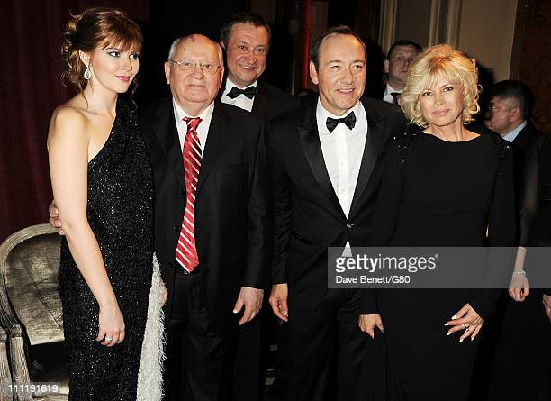 Ksenia Gorbacheva Former Soviet leader Mikhail Gorbachev Andrey Trukhachev actor Kevin Spacey and attends the Gorby 80 Gala at the Royal Albert Hall...