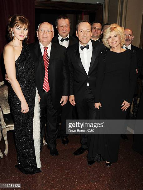 Ksenia Gorbacheva Former Soviet leader Mikhail Gorbachev Andrey Trukhachev actor Kevin Spacey and Irina Virganskaya attend the Gorby 80 Gala at the...