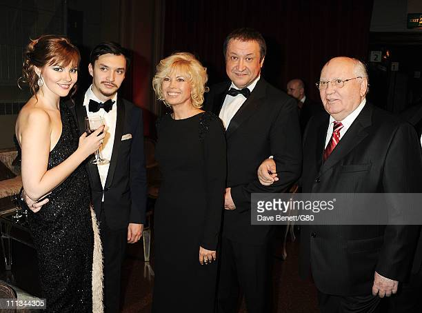 Ksenia Gorbacheva guest Irina Virganskaya Andrey Trukhachev and Former Soviet leader Mikhail Gorbachev attend the Gorby 80 Gala at the Royal Albert...