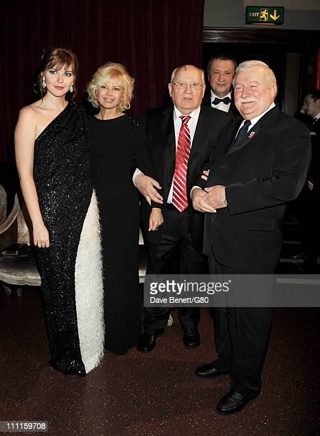 Ksenia Gorbacheva Irina Virganskaya Former Soviet leader Mikhail Gorbachev Andrey Trukhachev and Former Polish President Lech Walesa attend the Gorby...