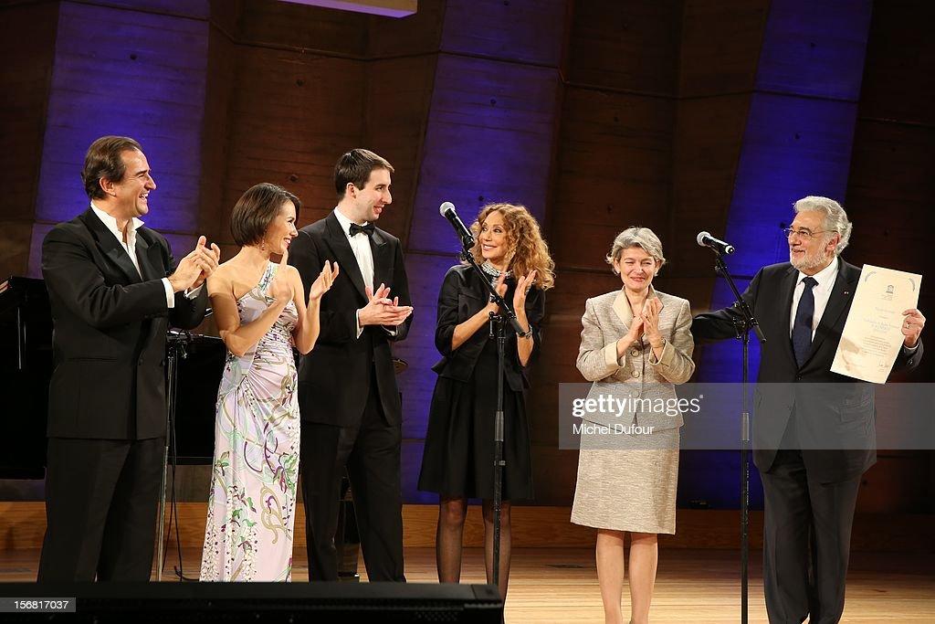 Ksenia Kogan, Ino Mirko, guest, Marisa Berenson, Irina Bokova and Placido Domingo attend the Placido Domingo Named Goodwill Ambassador Of Unesco ceremony and dinner at UNESCO on November 21, 2012 in Paris, France.