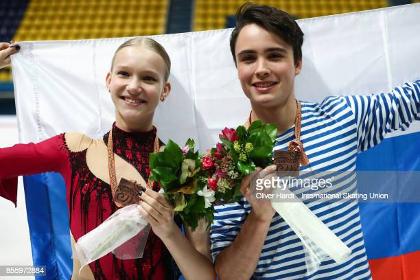 Ksenia Konkina and Grigory Yakushev of Russia poses with the bronze medal after the Junior Ice Dance Free Dance Program during day four of the ISU...