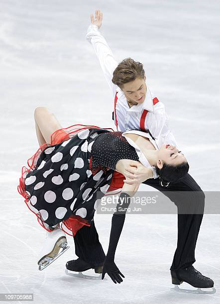 Ksenia Monko and Kirill Khaliavin of Russia compete in the Ice Dance Short Dance on day three of the 2011 World Junior Figure Skating Championships...