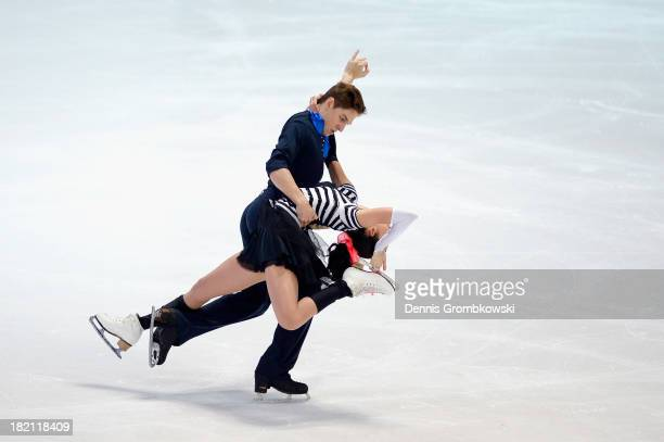 Ksenia Monko and Kirill Khaliavin of Russia compete in the Ice Dance Free Dance competition during day three of the ISU Nebelhorn Trophy at...