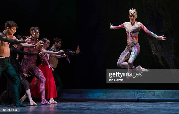 Ksenia Ovsyanick perform on stage during a dress rehearsal of the English National Ballet's Lest We Forget at the Barbican Centre on April 1 2014 in...