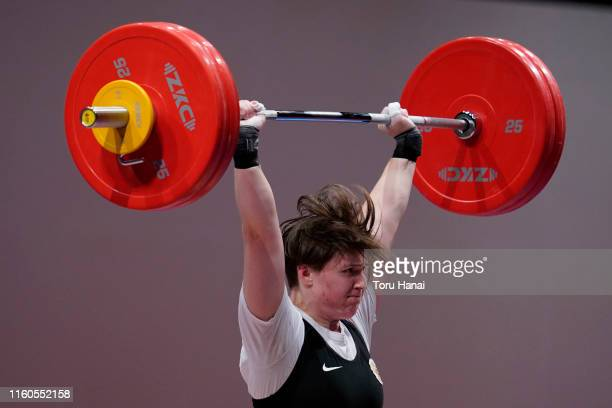 Ksenia Paskhina of Russia competes in the women's 87kg weightlifting on day two of the Ready Steady Tokyo - Weightlifting, Tokyo 2020 Olympic Games...