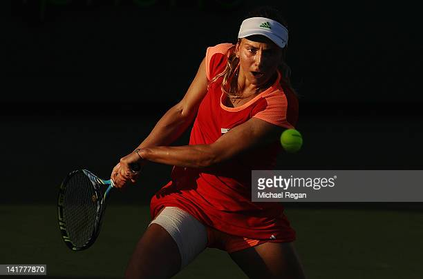 Ksenia Pervak of Kazakhstan in action during her match against Francesca Schiavone of Italy during day 5 of the Sony Ericsson Open at Crandon Park...