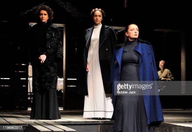Ksenia Rappoport as Masha Ekaterina Tarasova as Irina and Irina Tychinina as Olga in The Maly Drama Theatre of St Petersburg's production of Anton...