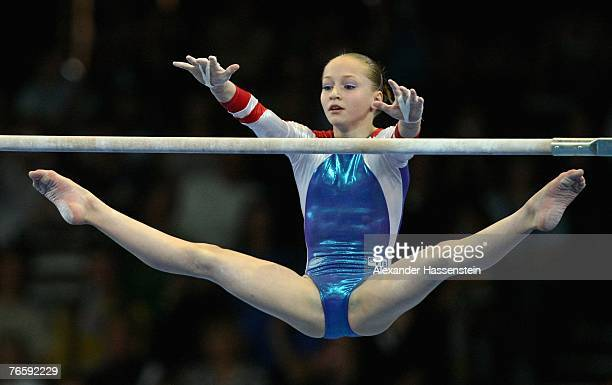 Ksenia Semenova of Russia wins the women's Uneven Bars final competition of the 40th World Artistic Gymnastics Championships on September 8 2007 at...