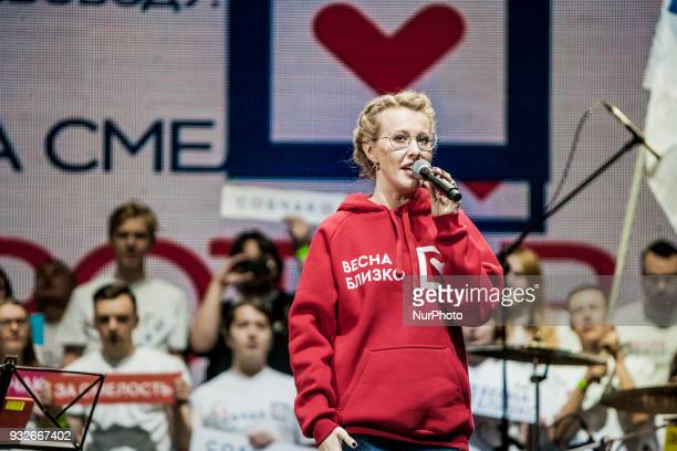 Ksenia Sobchak candidate of Civic Initiative party for the presidential elections in Russia gives a speech in the last rally before elections day