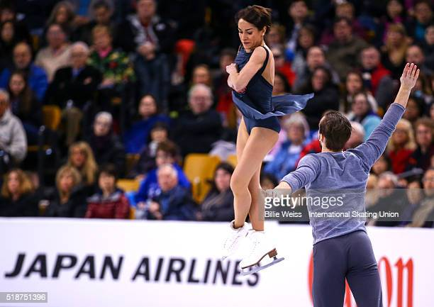Ksenia Stolbova and Fedor Klimov of Russia compete during Day 6 of the ISU World Figure Skating Championships 2016 at TD Garden on April 2 2016 in...