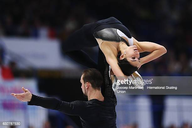 Ksenia Stolbova and Fedor Klimov of Russia compete in the Pairs Free Skating during day 2 of the European Figure Skating Championships at Ostravar...