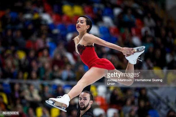 Ksenia Stolbova and Fedor Klimov of Russia compete in the Pairs Free Skating during day two of the ISU Grand Prix of Figure Skating Rostelecom Cup at...