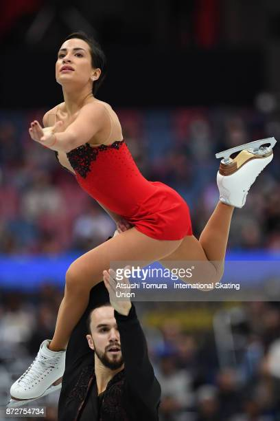 Ksenia Stolbova and Fedor Klimov of Russia compete in the Pairs free skating during the ISU Grand Prix of Figure Skating at on November 11 2017 in...