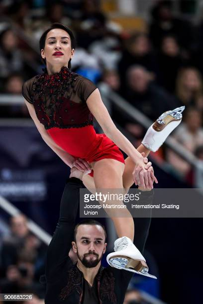Ksenia Stolbova and Fedor Klimov of Russia compete in the Pairs Free Skating during day two of the European Figure Skating Championships at Megasport...