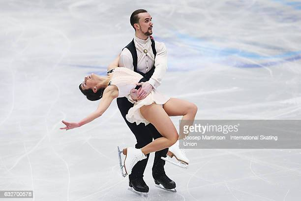 Ksenia Stolbova and Fedor Klimov of Russia compete in the Pairs Short Program during day 1 of the European Figure Skating Championships at Ostravar...