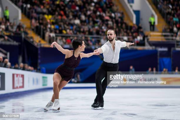 Ksenia Stolbova and Fedor Klimov of Russia compete in the Pairs Short Program during day one of the European Figure Skating Championships at...
