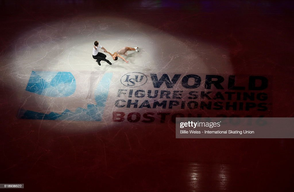 Ksenia Stolbova and Fedor Klimov of Russia perform during the exhibition of champions during Day 7 of the ISU World Figure Skating Championships 2016 at TD Garden on April 3, 2016 in Boston, Massachusetts.