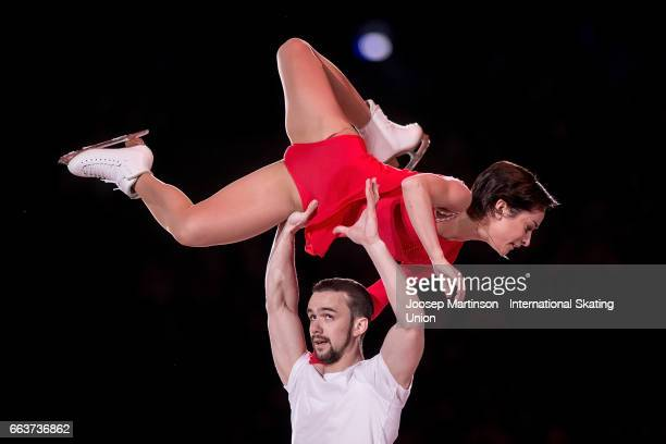 Ksenia Stolbova and Fedor Klimov of Russia perform in the gala exhibition during day five of the World Figure Skating Championships at Hartwall Arena...