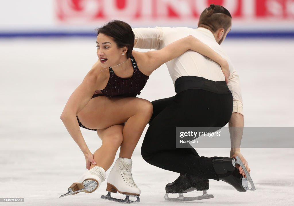 Ksenia Stolbova and Fedor Klimov of Russia perform their short program in the pair competition at the 2018 ISU European Figure Skating Championships, at Megasport Arena in Moscow.