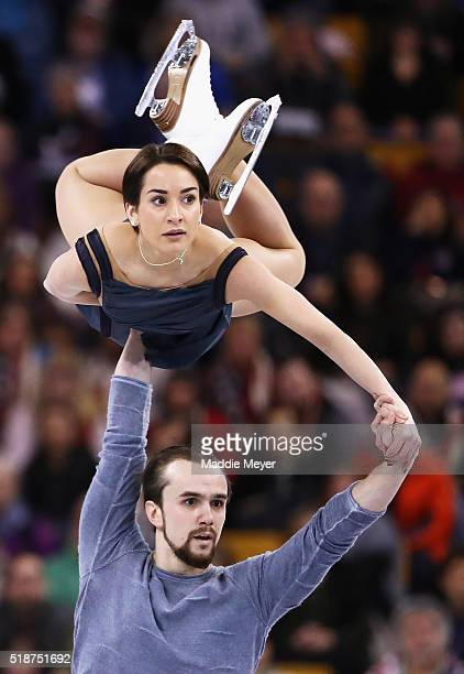 Ksenia Stolbova and Fedor Klimov of Russia skate in the Pairs Free Skate on Day 6 of the ISU World Figure Skating Championships 2016 at TD Garden on...