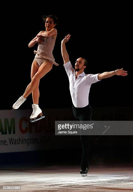 Ksenia Stolbova and Fedor Klimov of Team Europe perform during an exhibition on day 3 of the 2016 KOSE Team Challenge Cup at Spokane Arena on April...