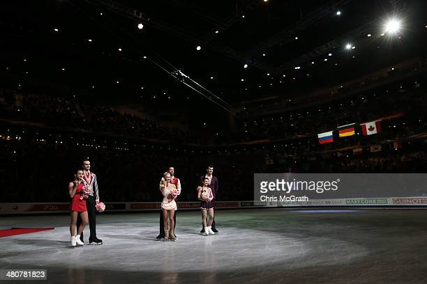 Ksenia Stolbova and Fredor Klimov of Russia Aliona Savchenko and Robin Szolkowy of Germany and Meagan Duhamel and Eric Radford of Canada pose for...