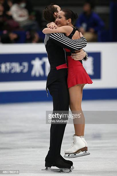Ksenia Stolbova and Fredor Klimov of Russia celebrate after their routine in the Pairs Free Program during ISU World Figure Skating Championships at...