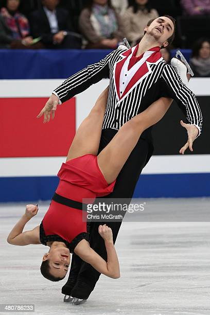 Ksenia Stolbova and Fredor Klimov of Russia compete in the Pairs Free Program during ISU World Figure Skating Championships at Saitama Super Arena on...