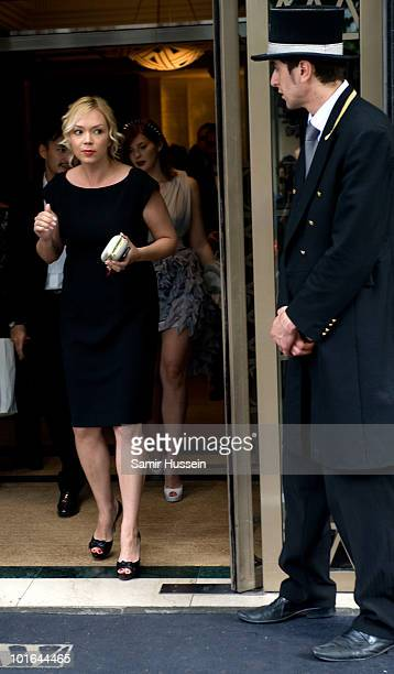 Ksenia Virganskaya, granddaughter of Mikhail Gorbachev, leaves the Westbury Hotel on her way to the Raisa Gorbachev Foundation Party on June 5, 2010...