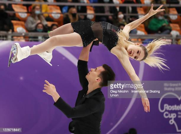 Kseniia Akhanteva and Valerii Kolesov of Russia perform in the Pairs Free Skating Program during day two of the ISU Grand Prix of Figure Skating...